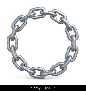 Circle chain 3D render illustration isolated on white background - Stock Photo