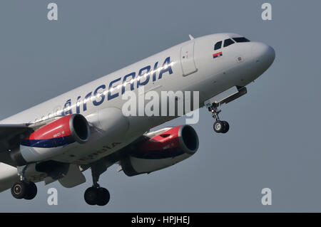 Air Serbia, national airline of Serbia Airbus A320-200 two-engine single-aisle passenger jet aircraft during take - Stock Photo