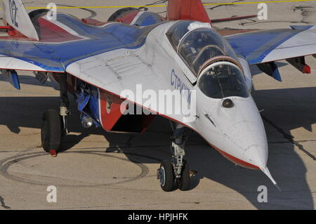 Mikoyan Gurevich MiG-29UB (NATO code name: Fulcrum) two seat jet fighter interceptor of Strizhi (Swifts) aerobatics - Stock Photo