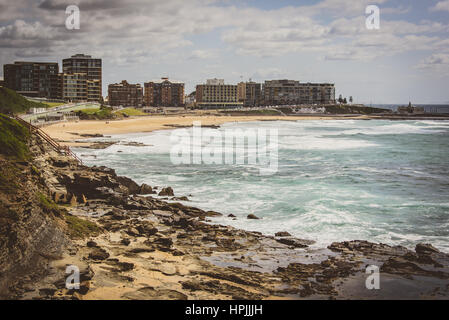View of Newcastle town and beach, Australia - Stock Photo