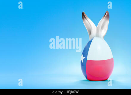 Colorful cute ceramic easter egg with rabbit ears and the flag of Texas .(series) - Stock Photo