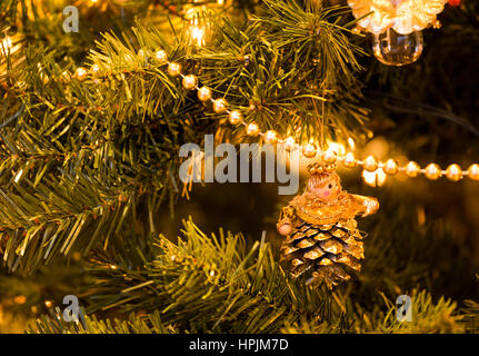 christmas tree made of string lights and presents Stock Photo ...