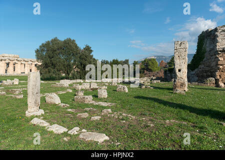 Paestum - famous archaeological site, the  temple, graeco-roman civilization, Campania, Salerno, Italy - Stock Photo