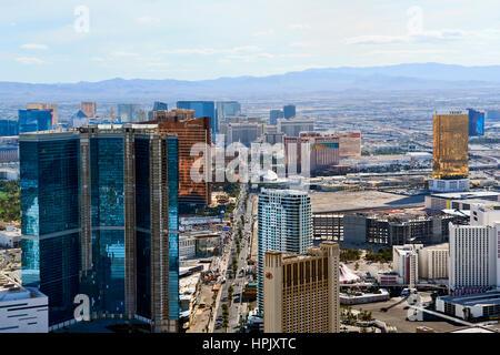 Las Vegas Skyline, Aerial View - Stock Photo
