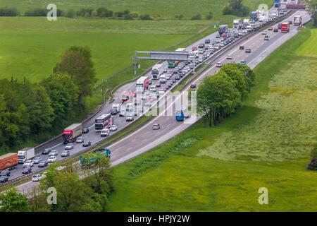 Traffic jam on highway A8, Irschenberg, Upper Bavaria, Bavaria, Germany - Stock Photo