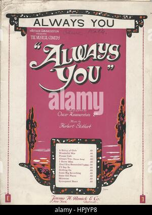 'Always You' 1920 Musical Sheet Music Cover - Stock Photo