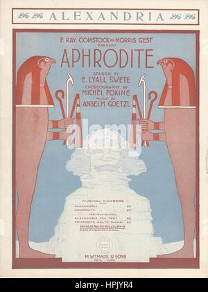 'Aphrodite' 1919 Musical Sheet Music Cover - Stock Photo