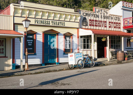 Greymouth, West Coast, New Zealand. Historic theatre and store at Shantytown, recreation of a 19th century gold - Stock Photo