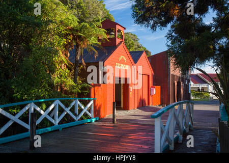 Greymouth, West Coast, New Zealand. Historic fire station at Shantytown, recreation of a 19th century gold-mining - Stock Photo