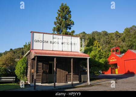 Greymouth, West Coast, New Zealand. Historic butchery at Shantytown, recreation of a 19th century gold-mining settlement. - Stock Photo