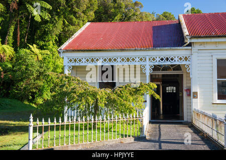 Greymouth, West Coast, New Zealand. Historic hospital at Shantytown, recreation of a 19th century gold-mining settlement. - Stock Photo