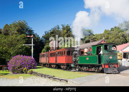 Greymouth, West Coast, New Zealand. Historic steam train at Shantytown, recreation of a 19th century gold-mining - Stock Photo