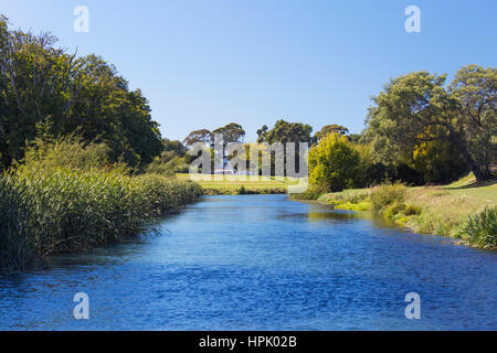 Blenheim, Marlborough, New Zealand. View along the Opaoa (Opawa) River. - Stock Photo