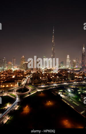 Dubai Skyline at night from South ridge in Business Bay, Dubai, United Arab Emirates - Stock Photo