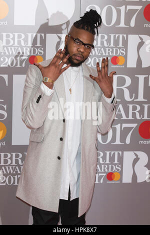 London, UK. 22 February 2017. MNEK. Red carpet arrivals for the 2017 BRIT Awards at the O2 Arena. © Bettina Strenske/Alamy - Stock Photo