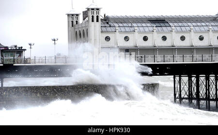 Brighton, UK. 23rd Feb, 2017. Waves crash on to Brighton seafront by the Palace Pier as Storm Doris hits the south - Stock Photo