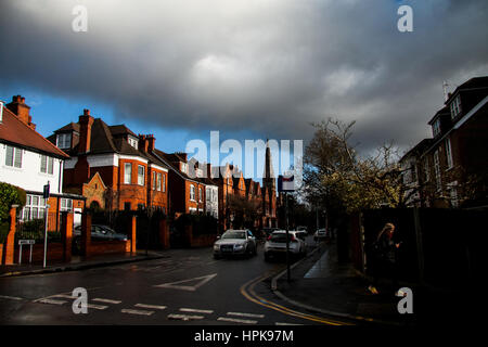 Wimbledon, London, UK. 23rd Feb, 2017. Ominous dark clouds in Wimbledon, as Storm Doris hits mainlaind Britain bringing - Stock Photo