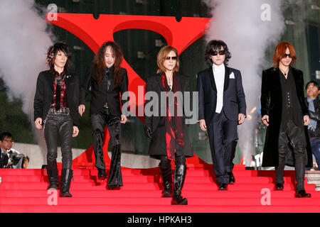 Members of rock band X Japan attends the red carpet event for the film ''We are X'' on February 23, 2017, Tokyo, - Stock Photo