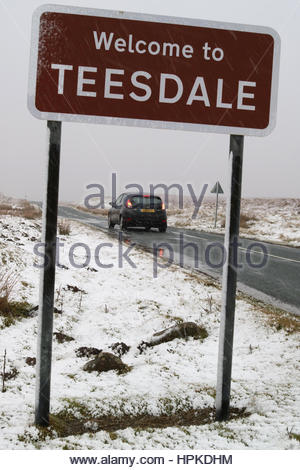 Teesdale, Co Durham, UK. 23rd February 2017. As Storm Doris moves across the UK it brings high winds and snow to - Stock Photo
