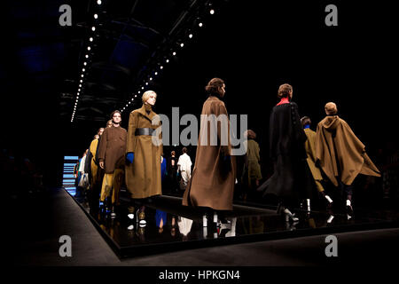 Milan, Italy. 23rd Feb, 2017. Models present creations at the Anteprima show during Milan Fashion Week Fall/Winter - Stock Photo