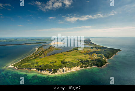 View from north to the island Hiddensee, island Hiddensee, Baltic coast, Western Pomerania, Mecklenburg-West Pomerania, - Stock Photo