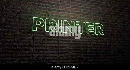 PRINTER -Realistic Neon Sign on Brick Wall background - 3D rendered royalty free stock image. Can be used for online - Stock Photo