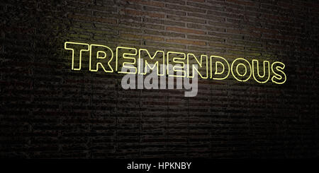 TREMENDOUS -Realistic Neon Sign on Brick Wall background - 3D rendered royalty free stock image. Can be used for - Stock Photo