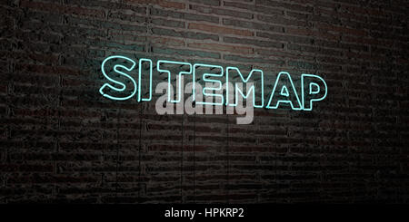 SITEMAP -Realistic Neon Sign on Brick Wall background - 3D rendered royalty free stock image. Can be used for online - Stock Photo
