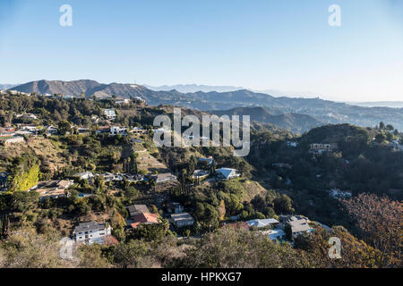 Los Angeles, California, USA - January, 1, 2015:  New years morning below the Hollywood Sign in the Hollywood Hills - Stock Photo