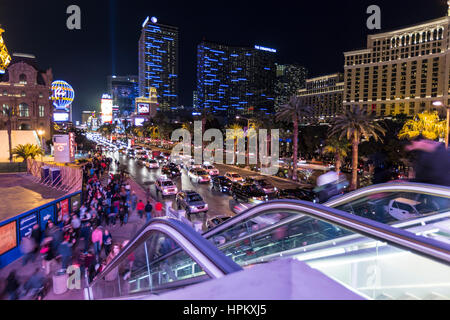 Editorial view of busy pedestrian traffic on the Las Vegas strip. - Stock Photo