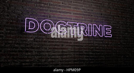 DOCTRINE -Realistic Neon Sign on Brick Wall background - 3D rendered royalty free stock image. Can be used for online - Stock Photo