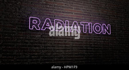 RADIATION -Realistic Neon Sign on Brick Wall background - 3D rendered royalty free stock image. Can be used for - Stock Photo