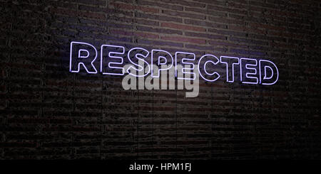 RESPECTED -Realistic Neon Sign on Brick Wall background - 3D rendered royalty free stock image. Can be used for - Stock Photo