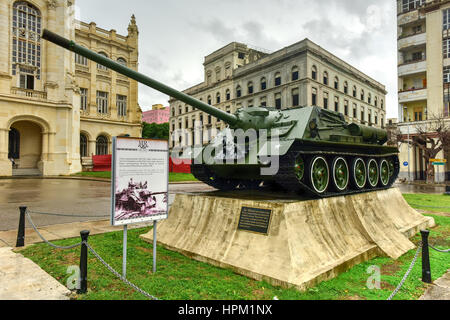 Soviet tank in front of the Museum of the Revolution in Havana. The palace was the headquarters of the Cuban government - Stock Photo