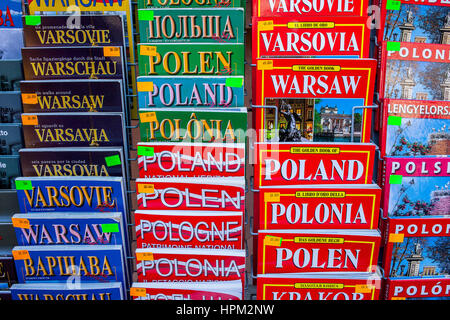 Tourist books, Warsaw, Poland - Stock Photo