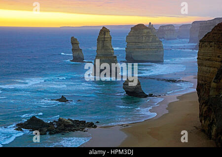 12 Apostles at sunset along Great Ocean Road, Victoria, Australia. - Stock Photo