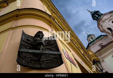 Kafka birthplace plaque. In Franz Kafka square.Stare Mesto.Prague. Czech Republic - Stock Photo