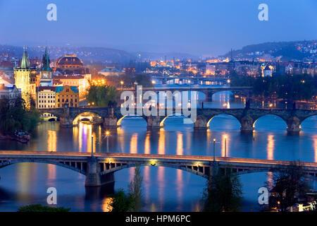 Bridges over Vltrava River. The second bridge is the Charles Bridge.Prague. Czech Republic - Stock Photo