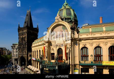 The Municipal house and the Powder tower.Prague. Czech Republic - Stock Photo
