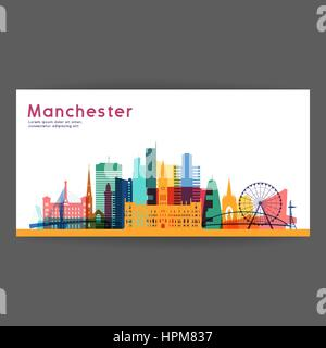 Manchester colorful architecture vector illustration, skyline city silhouette, skyscraper, flat design. - Stock Photo