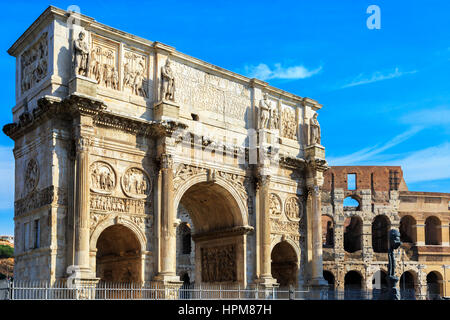 Arco de Constantino, the Triumphal arch built by the Senators in AD315, situated on the Via Triumphalis, between - Stock Photo