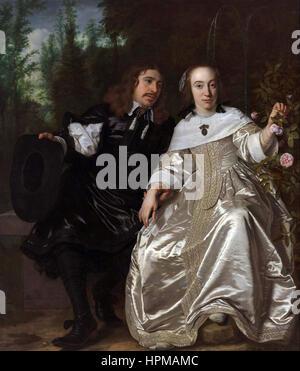 Bartholomeus van der Helst Portrait of Abraham del Court and his wife Maria de Keerssegieter - Stock Photo