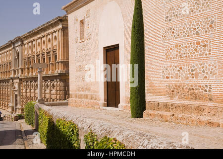 Stone and brick buildings at Alhambra palace grounds, Granada, Spain, Europe.