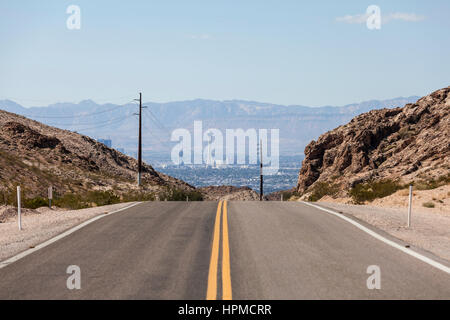 Desert road to the Stratosphere resort and the Las Vegas strip. - Stock Photo