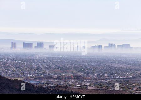 Las Vegas, Nevada, USA - February 4, 2015:  Las Vegas valley haze and smog. - Stock Photo