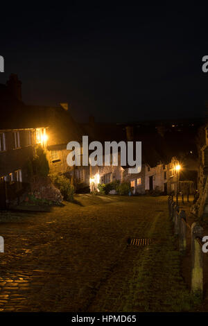 Gold Hill, Shaftesbury in January - Stock Photo
