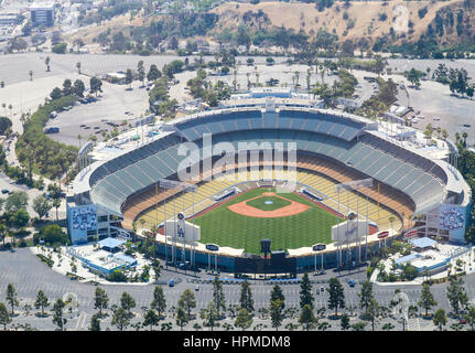 Los Angeles, USA - May 27, 2015: Aerial view of the Dodger Stadium in Elysian Park. The stadium and the stands and - Stock Photo