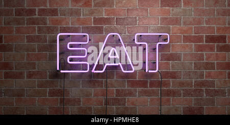 EAT - fluorescent Neon tube Sign on brickwork - Front view - 3D rendered royalty free stock picture. Can be used - Stock Photo