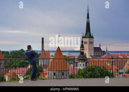 Old Town from viewing platform in Toompea district,Tallinn,Estonia - Stock Photo