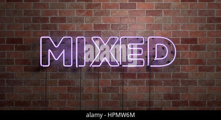 MIXED - fluorescent Neon tube Sign on brickwork - Front view - 3D rendered royalty free stock picture. Can be used - Stock Photo